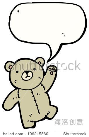 卡通挥舞着泰迪熊
