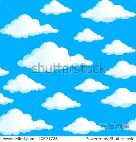 无缝纹理的云.蓝色背景图.