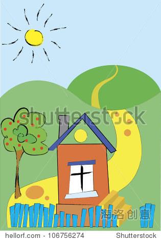夏天乡村风景的房子和树和山