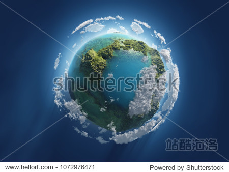 blue planet in space  3d illustration