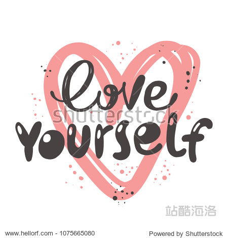 love yourself. logo icon and label for your design. lettering.