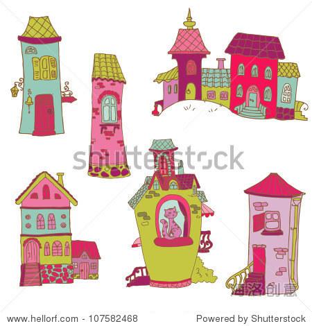 剪贴簿设计元素——小房子涂鸦向量