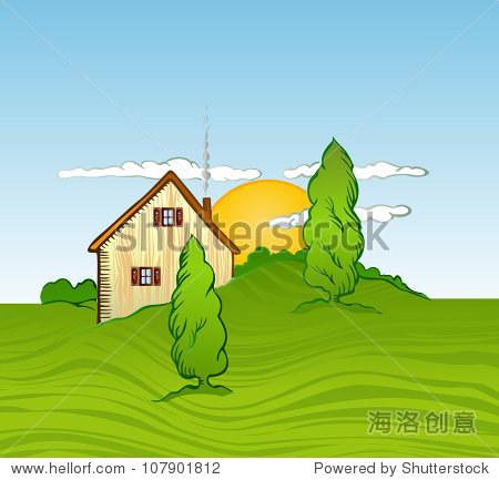 房子和樹木.矢量圖