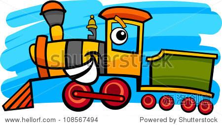 可爱的卡通插图蒸汽机火车头或火车的性格