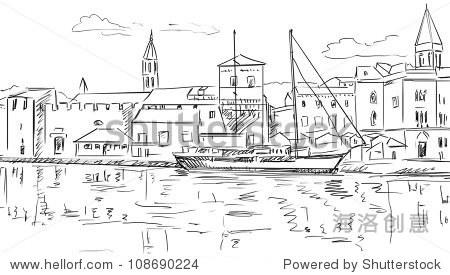 克罗地亚镇街道——速写插图-建筑物/地标,交通运输