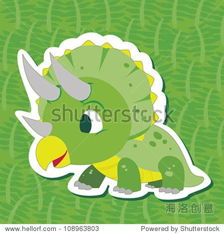 一个可爱的恐龙和三角龙贴纸