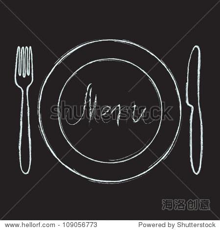 餐厅菜单设计.黑板用手绘的刀,叉,盘子和菜单.矢量插图.