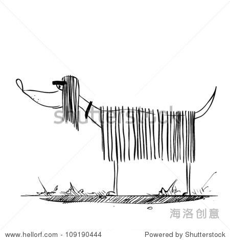 矢量图与文本和有趣的卡通狗的性格.-动物/野生生物