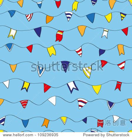 无缝模式与旗帜旗帜.海洋主题.矢量图