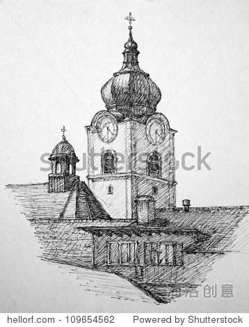 手画图解说明:城市教堂altstatten,瑞士.