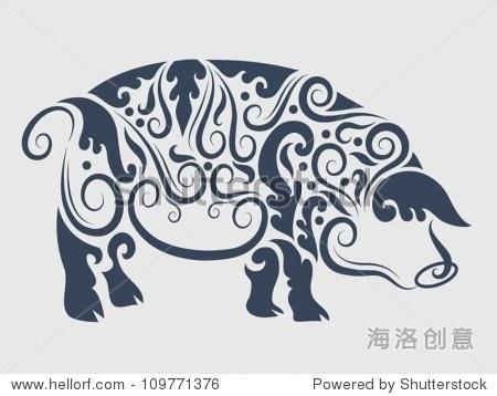 动物与植物的点缀装饰.使用纹身或任何你
