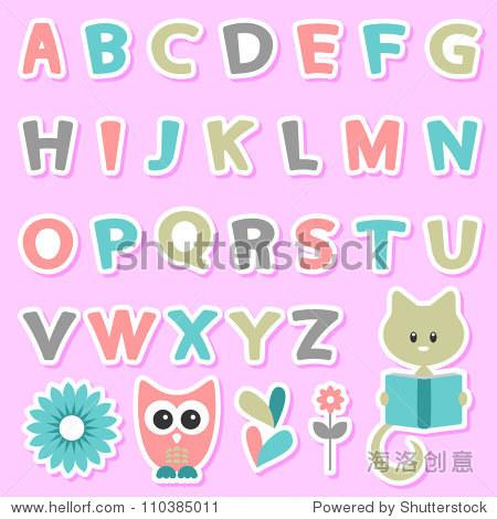 可爱的孩子气的贴纸与字母集