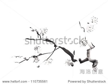 梅花在白色背景的墨水画图片
