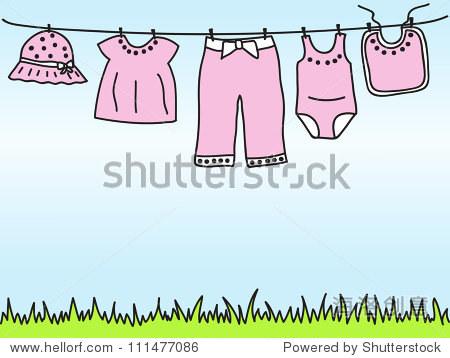 小女孩衣服晾衣绳——手绘插图