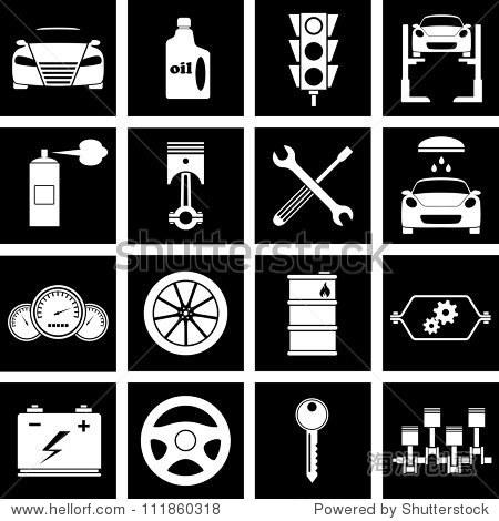 矢量图的图标在汽车维修