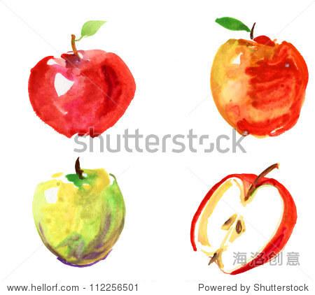 组水彩手绘苹果