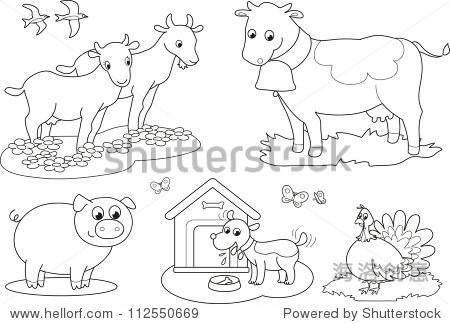 儿童套着色农场动物山羊