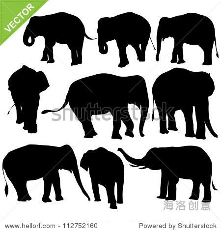 大象轮廓矢量-动物/野生生物-海洛创意正版图片,视频