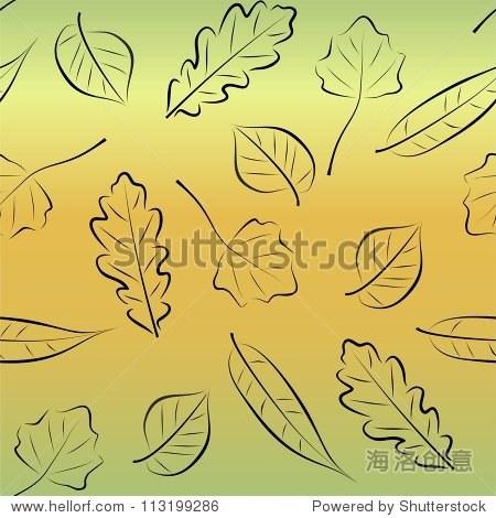 秋天树叶形状无缝的背景