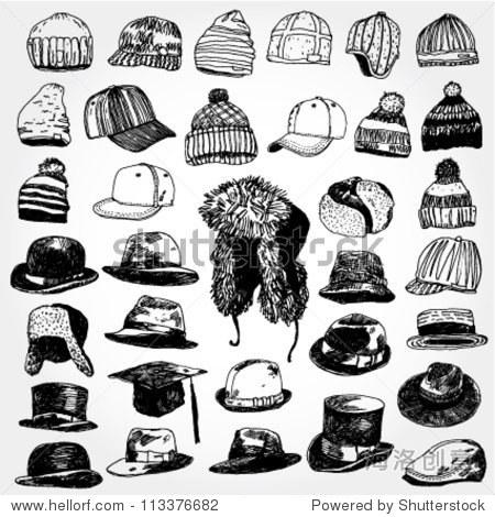 帽子手绘的集合