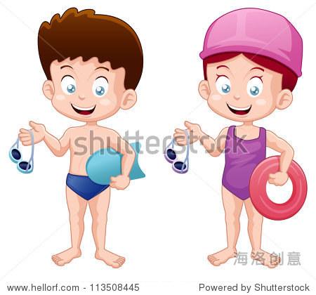 插图的小孩子游泳西装