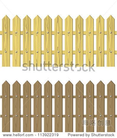 木栅栏矢量图-建筑物/地标