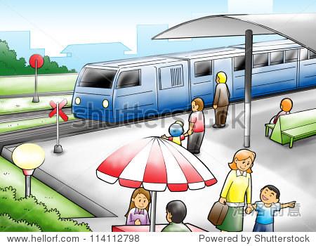 火车站的卡通插图