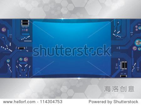 抽象背景电路板和大屏幕嗨技术 - 背景/素材,科技