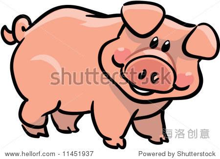 向量可爱猪插图-动物/野生生物,插图/剪贴图-站酷海洛