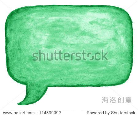 绿色水彩空白讲话泡沫对话框空圆角正方形白色背景.