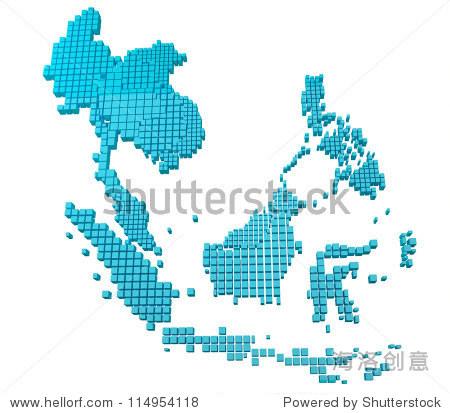 蓝色东盟地图