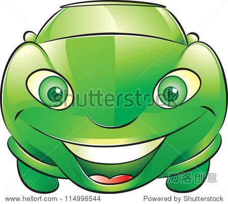 矢量图的微笑的绿色汽车.