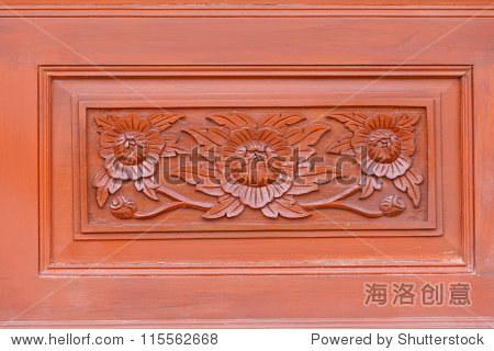 木头上雕刻图案,装饰元素