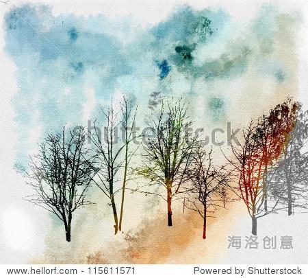 树是水彩画纸上的背景