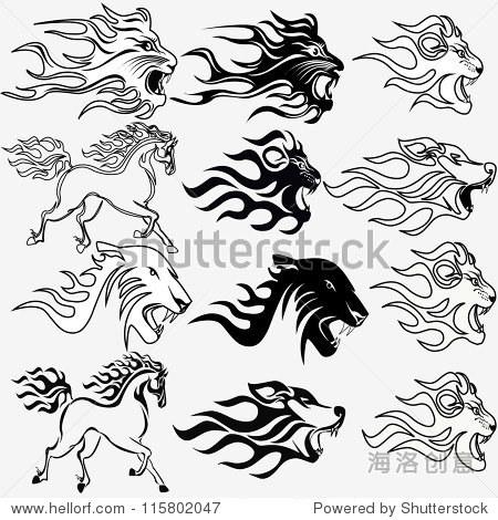 平面组纹身火马狮子狼和豹