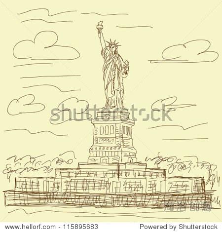 复古手绘插图的著名旅游目的地美国纽约的自由女神像.