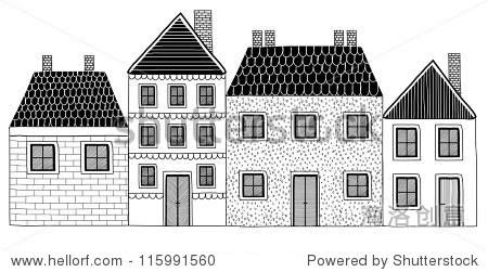 创意组黑白手绘房屋孤立在白色背景——矢量插图-建筑