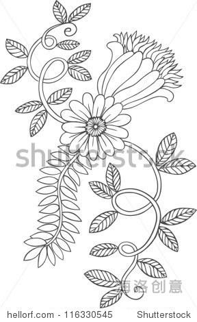 单色线条画的花和叶子