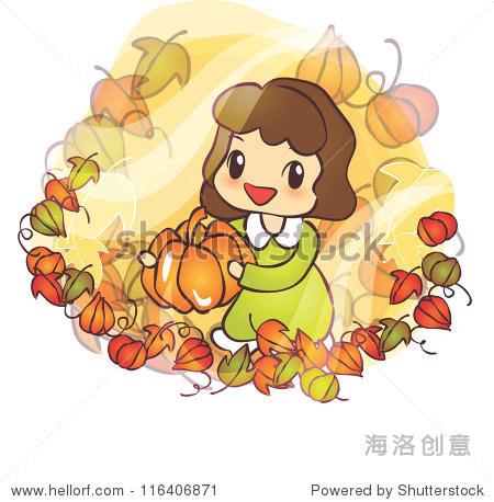 美丽的秋天的场景:快乐微笑可爱的可爱的小女孩,开胃的南瓜在白色背景