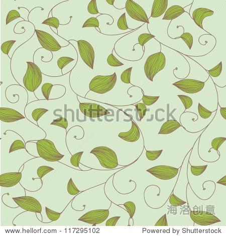 无缝矢量纹理小树叶
