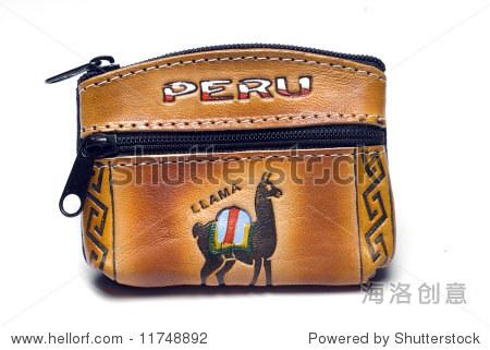 手工制作的纪念品皮革零钱包与骆驼原生动物图案设计南美洲秘鲁