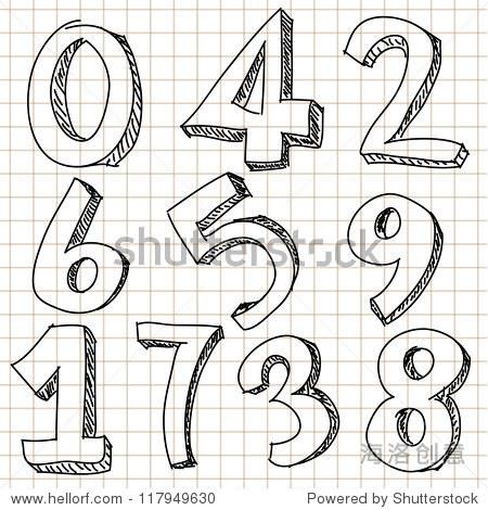 手绘的数字-商业/金融,符号/标志-站酷海洛创意正版