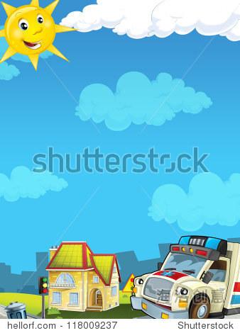 卡通城市救护车——说明寻找孩子-背景/素材