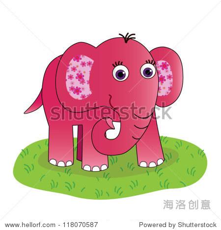 粉红色的大象的耳朵鲜花绿草和白色背景-动物/野生