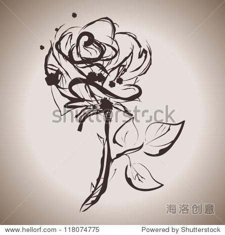 难看的东西优雅墨水飞溅玫瑰花