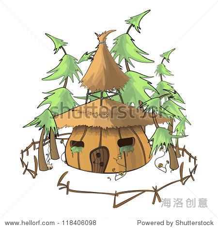 南瓜房子孤立的背景.矢量插图.