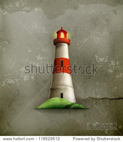 灯塔,老式的向量 - 物体