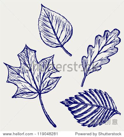 收集叶子.涂鸦风格