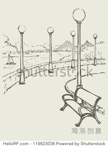 素描的景观河.长凳上,沿着公园的路灯光