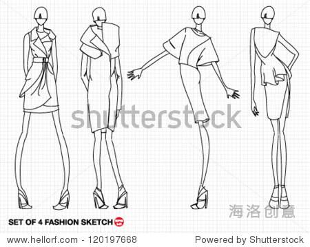 手绘草图高时装模特与豪华礼服